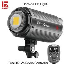 лучшая цена JINBEI EF-150 150Ws LED Light 5500K Continuous Output Studio Photography Free TR-V6 Flash Trigger Dimmable Lamp Bowens Mount