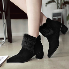 New 2016 Fashion Cow Leather Korean Version Thick High Heel Ankle Boots Retro Winter Shoes Women Black Booties Discount