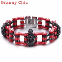 Granny Chic Fashion Red Color Biker Mens Bracelet 316L Stainless Steel Chain Wristband Punk Black Skulls Heads Motorcycle Link