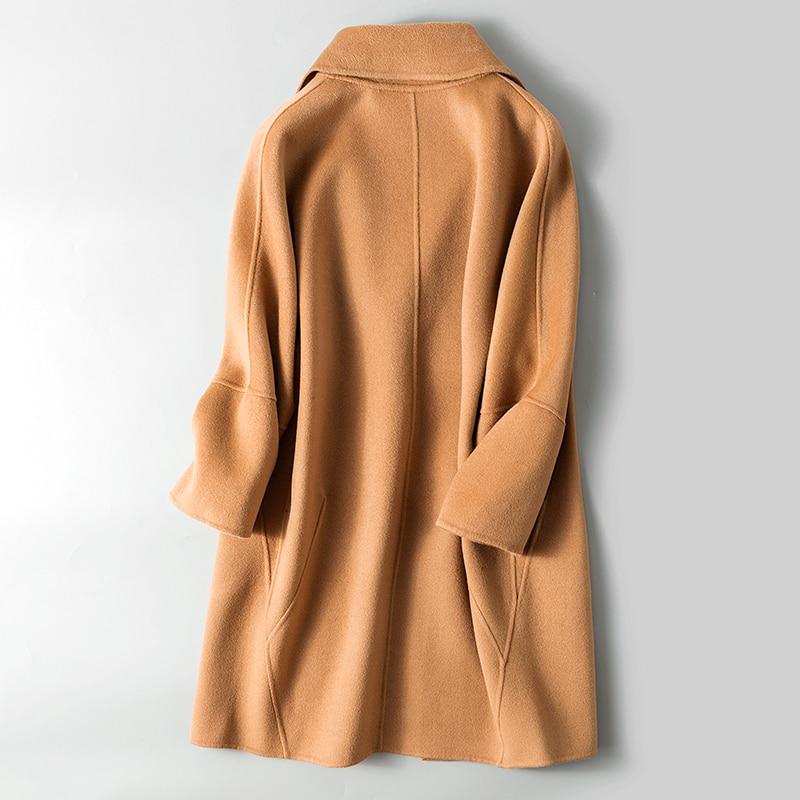 Invierno Taille Long Femininos Casacos Vrouwen brown Kmetram Ropa Lâche Mujer Winterjas Veste Large De My193 Femmes Laine Green red Manteau 2018 xxBqY6F