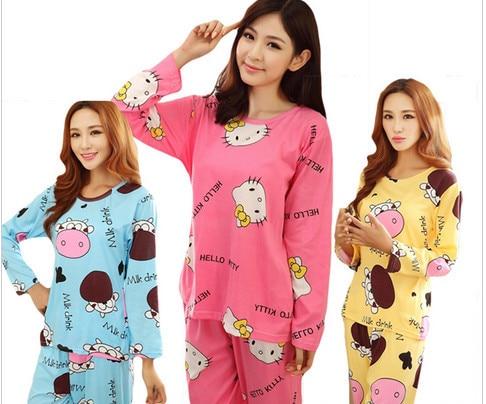 2018 Women Cotton Pajamas Hello Kitty Sleepwear Sets Soft Pajamas Women Nightgown Fashion Style Pajamas Sets New Arrivla PJM004