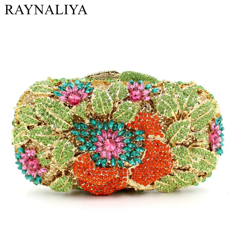 Women Flower Crystal Clutch Bag Lady Dinner Party Diamonds Purse Wedding Day Clutches Wholesale Evening Bags Smyzh-e0297 new women handmade prom clutch evening bag luxury party bags lady crystal minaudiere diamonds day clutches smyzh e0067