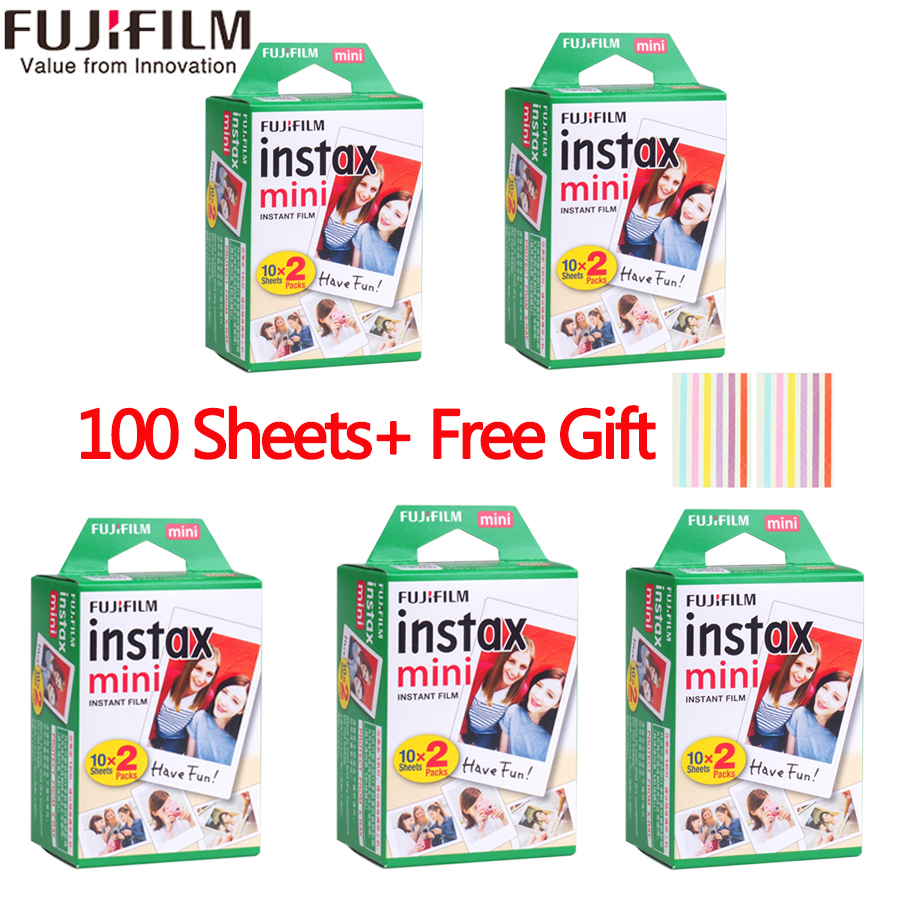 20-100 hojas Fuji Fujifilm instax mini 9 8 películas white Edge películas para instantánea mini 8 7 S 25 50 s 9 90 cámara de fotos de papel