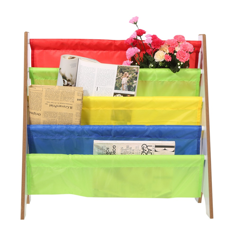 Multi-color Pocket Wooden Bookshelf Kids Bookshelf Creative Children Furniture Bookcase Shelve Toy Storage Rack #5