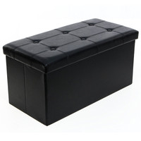 Faux Leather Stool Button Tufted Rectangle Storage Footstool Living Room Chair HOT SALE