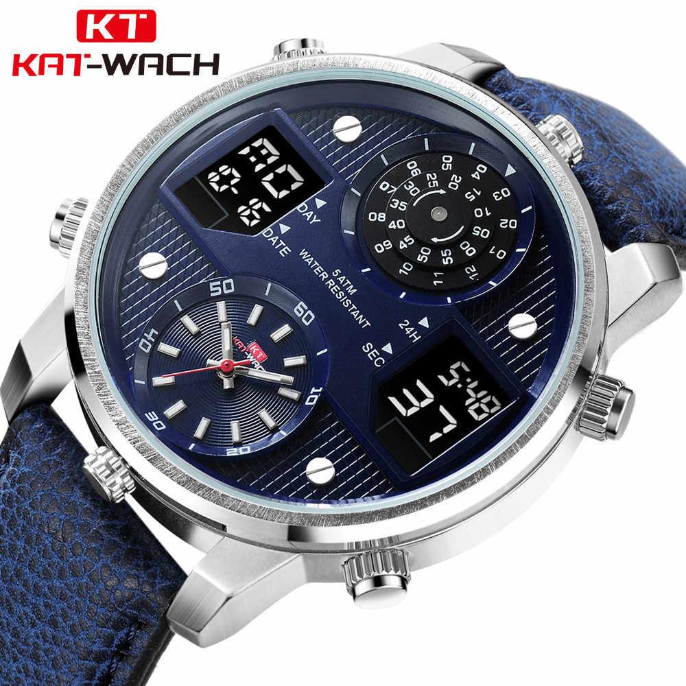 0583a7499 KAT-WACH Brand Luxury Men Sport Watch Waterproof Leather Big Dial Business  Quartz Digital Watch