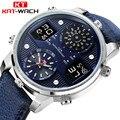 KAT WACH Marke Luxus Männer Sport Uhr Wasserdicht Leder Große Zifferblatt Business Quarz Digitale Uhr Dual Time Uhr Männer Männlichen Uhr-in Quarz-Uhren aus Uhren bei