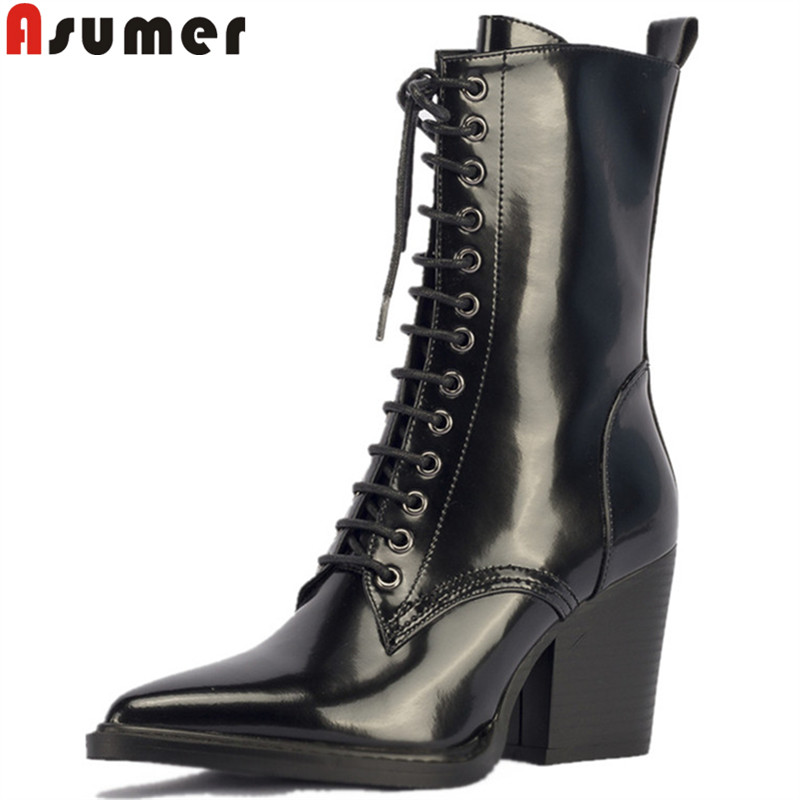 ASUMER fashion autumn winter boots women pointed toe lace up cow parent leather boots high heels shoes mid calf boots women mary yanxi new fashion high heels women boots lace up pointed toe shoes mid calf worm boots thin heels elegant shoes big size43