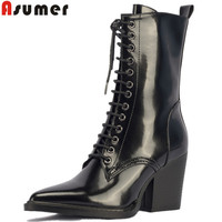 ASUMER fashion autumn winter boots women pointed toe lace up cow parent leather boots high heels shoes mid calf boots women