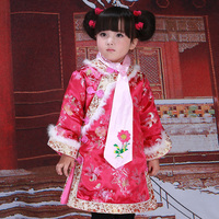 Brocade Girl Children's Cheongsam Dress Chinese Palace Princess Dress+Necktie New Year Clothes Traditional Embroidery Tang Suits