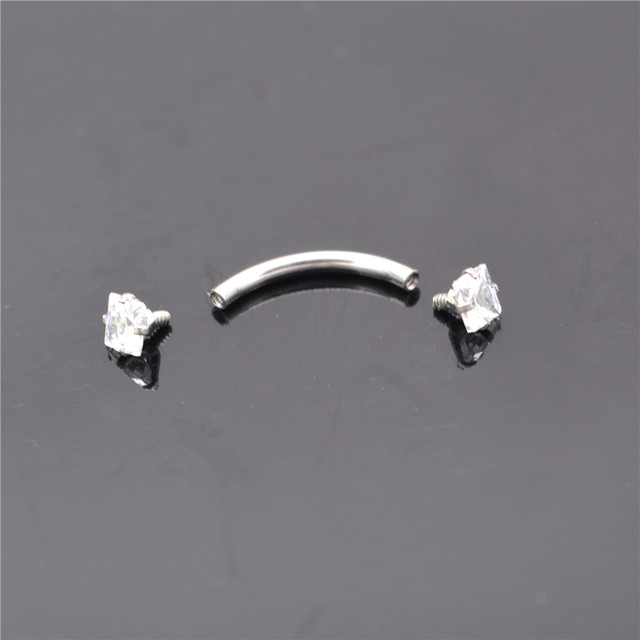 G23titan AAA Square Zircon 316L Stainless Steel Body Jewelry Internally Threaded Curved Barbells Navel Ear Eyebrow Piercing Ring 2