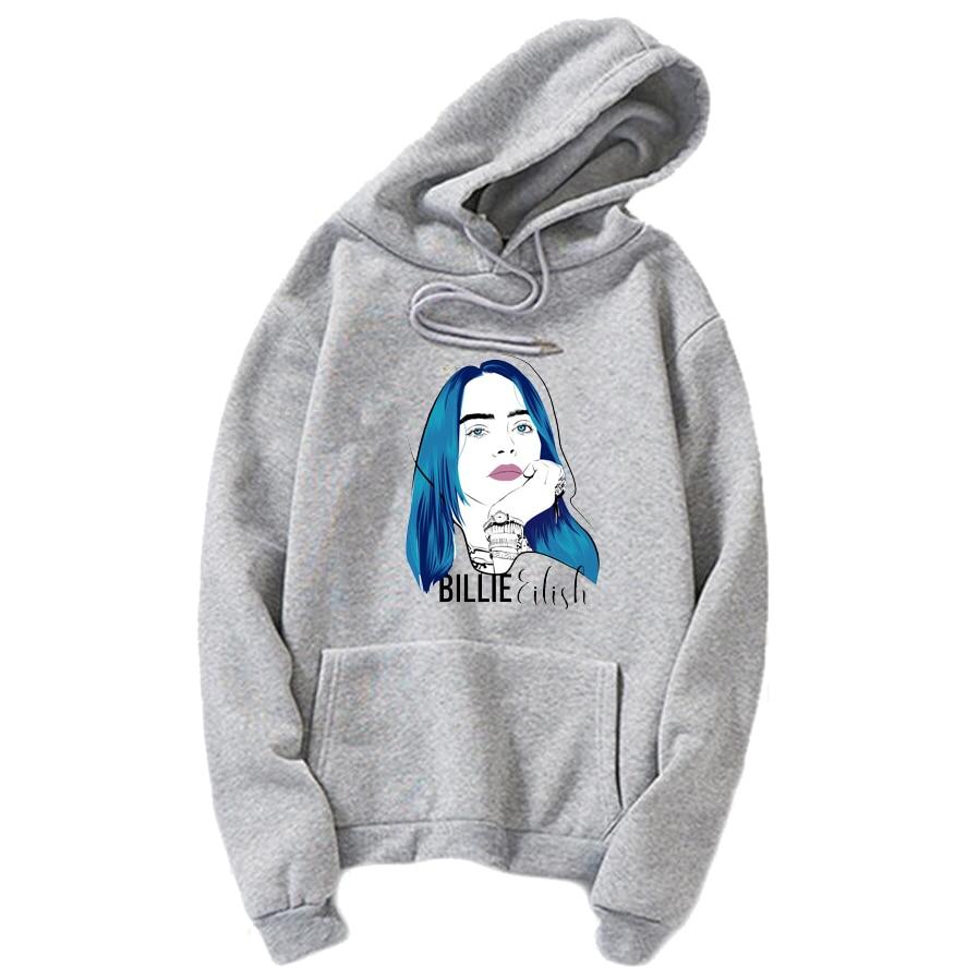 2019 New billie eilish Hoodies Sweatshirt Tops Pullovers Kpop  BTS Hoodie Clothes Oversized Solid Cotton Harajuku Kawaii Tops AG2R La Mondiale 2019