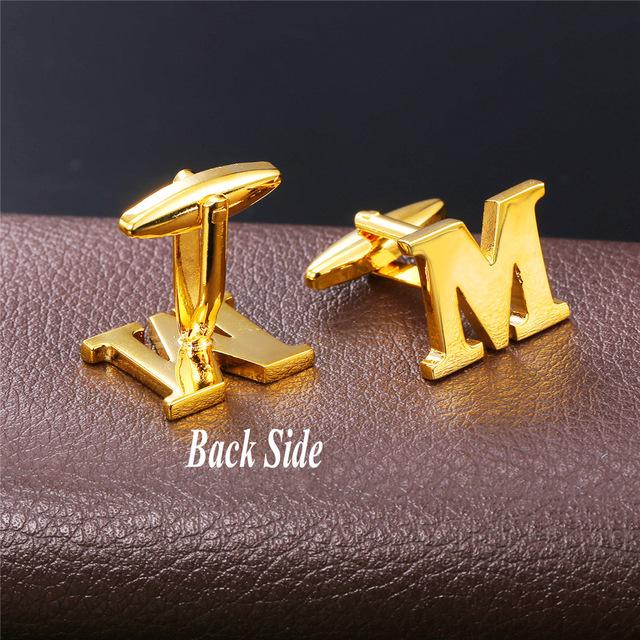 Alphabet Letter M Yellow Gold color Cufflink