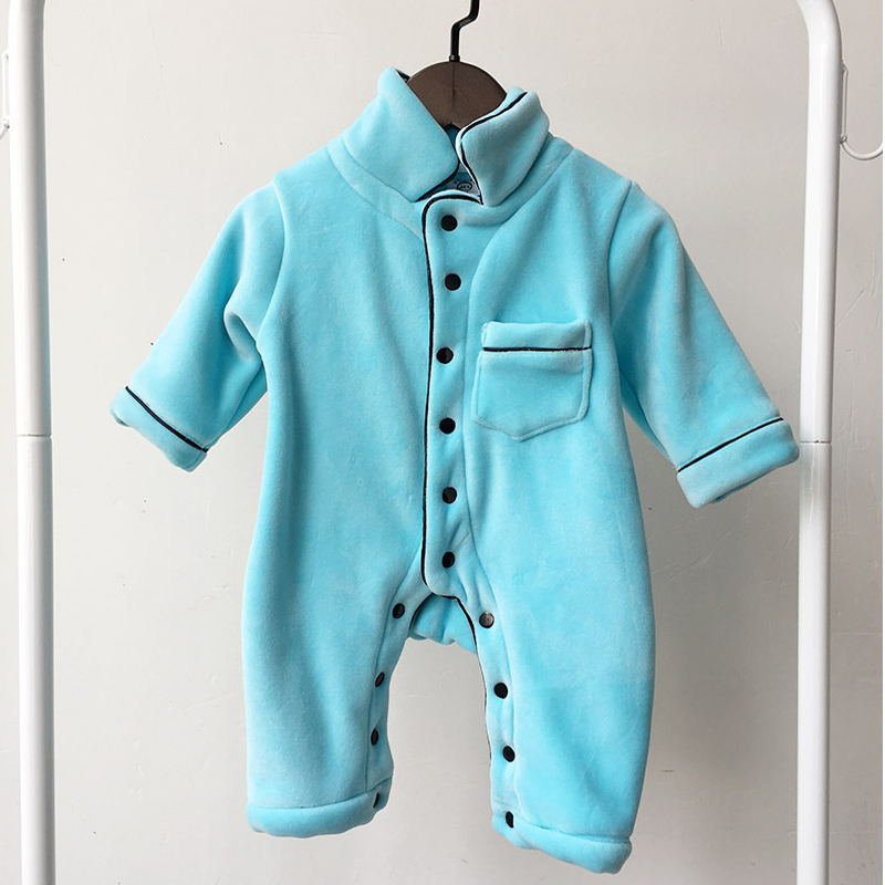 2018 Newborn Baby Boys Clothing Toddler Girls Rompers Kids Long Sleeve Pajamas Jumpsuit Infant Sleepwear Clothes Velvet Romper unisex baby boys girls clothes long sleeve polka dot print winter baby rompers newborn baby clothing jumpsuits rompers 0 24m