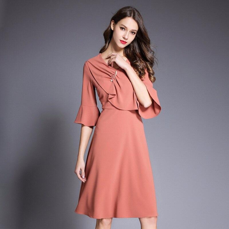 Women Spring A Line Dress Office Ladies Elegant V Neck Pink Orange Dress Half Flare Sleeve Empire Slim Dress