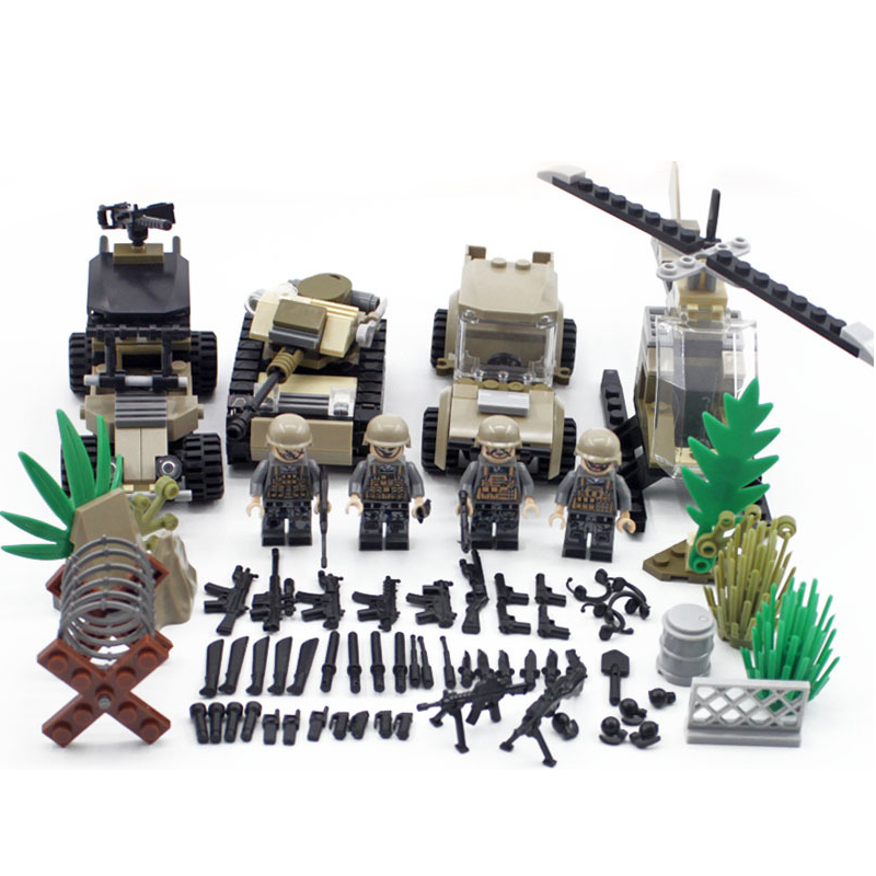 Modern Military Brickmania Minifigs Red Sea Action Building Block China Army Forces Figure Helicopter Tank Armored Car Brick Toy