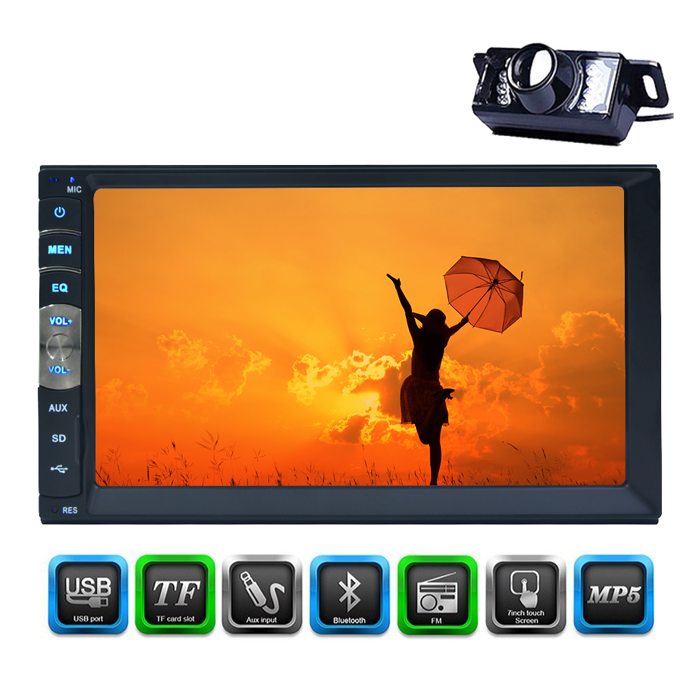 2 Din Car Stereo MP5 Player GPS Navigation 7 Inch Headunit Capacitive Touch Screen Car FM Radio in Dash Headunit Supports Bluetooth//Remote Control//Steering Wheel Control