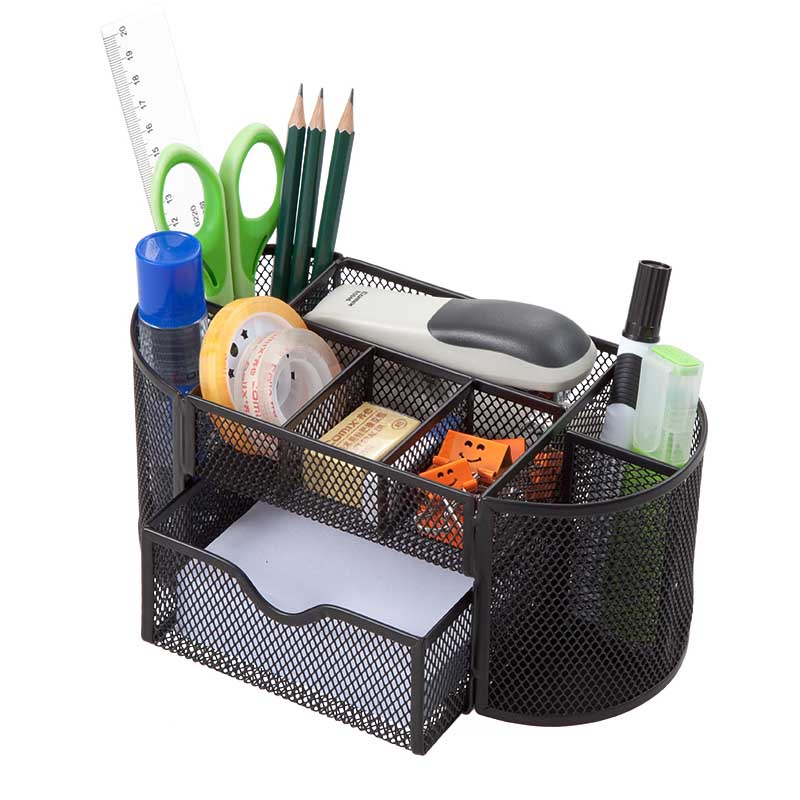 HUA JIE Mesh Metal Desk Organizer Caddy Pen Holders with 8 Compartments with Drawer Office Desktop Organizer School Supply Memos цена
