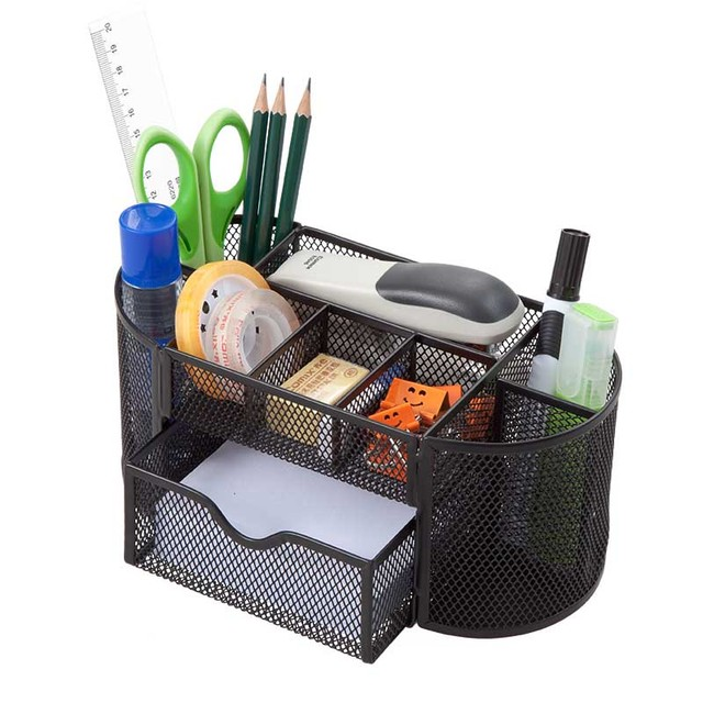 HUA JIE Mesh Metal Desk Organizer Caddy Pen Holders with 8 ...