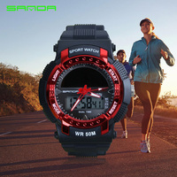 Male Fashion Sport Military Wristwatches 2017 New SANDA Watches Men Luxury Brand 3ATM 30m Dive LED