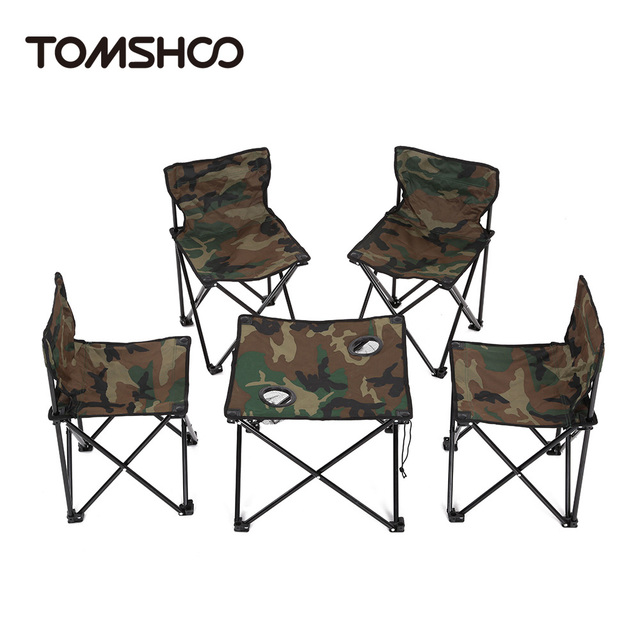 TOMSHOO Portable 1 Table 4 Chairs Set Outdoor Home Camping Picnic ...