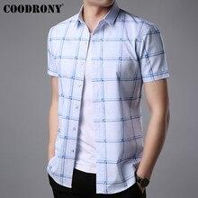COODRONY Short Sleeve Plaid Shirt Men Brand Clothing 2019 Summer New Business Casual Shirts Social Dress Camisa Masculina S96044