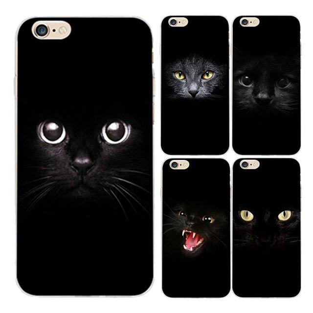 bcd6a2bf05c Gato Negro para coque iPhone 5S 5 SE 5C 6 6 s 7 Plus cat's eyes Soft ...