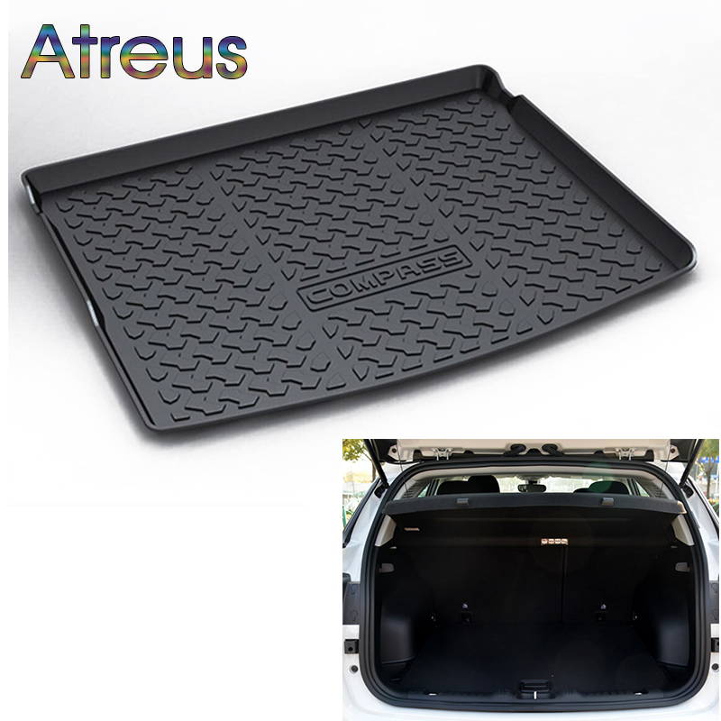 Atreus Car Rear Trunk Floor Mat Durable Carpet For Jeep Compass MP/552 2017 2018 Boot Liner Tray Waterproof Anti-slip mat atreus car rear trunk floor mat durable carpet for toyota corolla e140 e150 2007 2013 boot liner tray waterproof anti slip mat