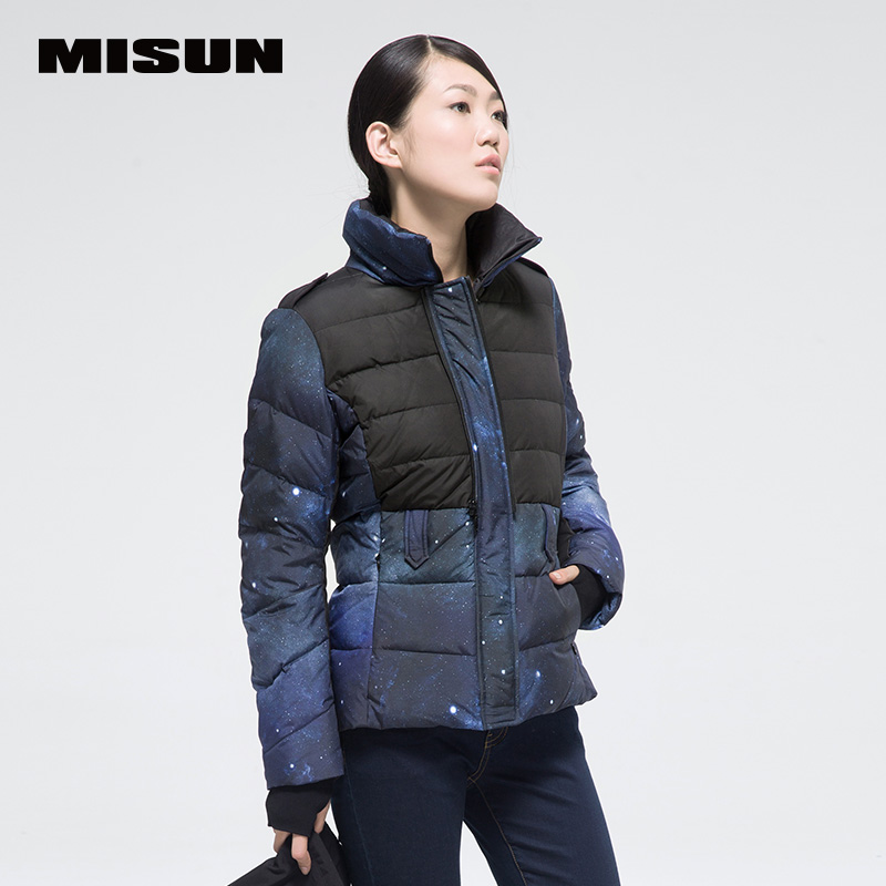 Misun2017 New  Fashionable Casual Short Design Colorant Match Slim Women's Down Coat Jackets  For Female New Arrival