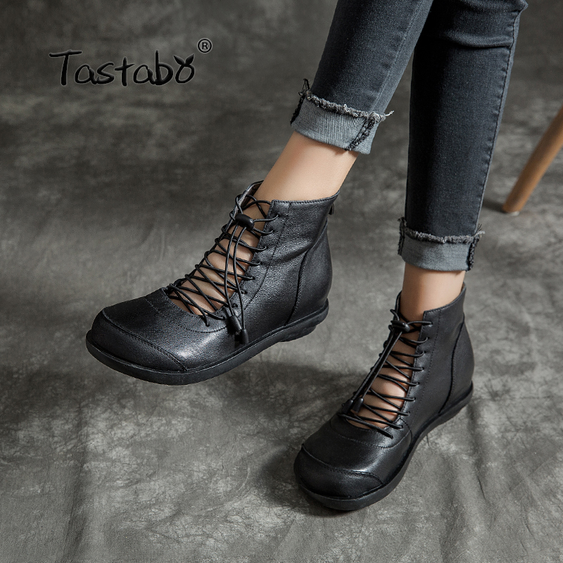 Tastabo 2019 new women s boots Leather craft Rubber wear sole Comfortable leather lining Summer breathable