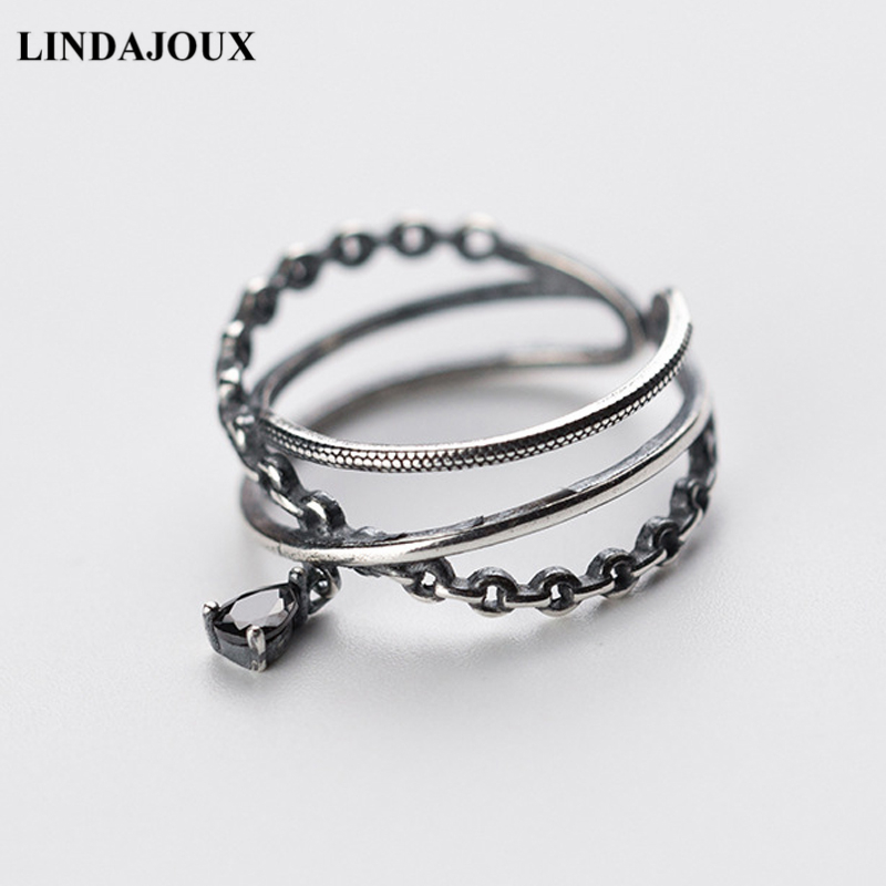 LINDAJOUX 925 Sterling Silver Thai Triple Layers Zircon Charm Ring For Women S925 Resizable Wedding Engagement Rings