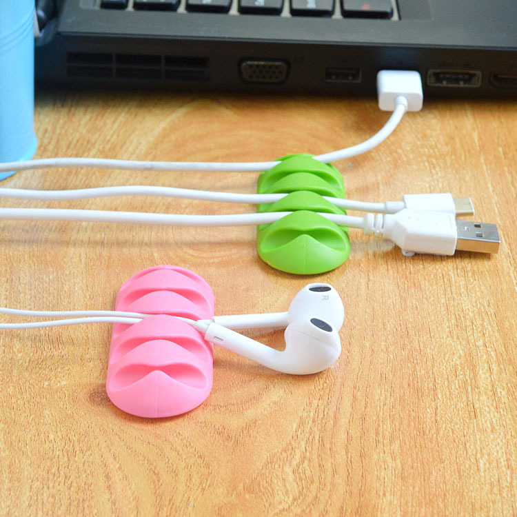 HTB1h.p1KrGYBuNjy0Foq6AiBFXa5 2018 Random Color New Arrival 1Pc Cable Winder Earphone Cable Organizer Wire Storage Silicon Charger Holder Clips Cable winder