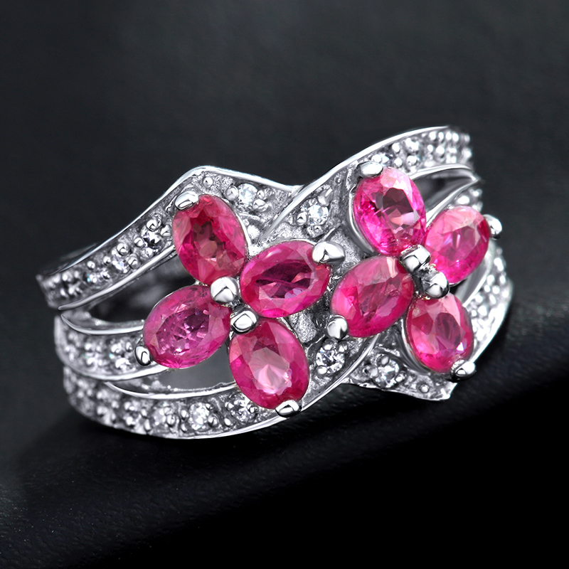 Natural Pink Ruby Ring Flower In 925 Sterling Silver Fancy Sapphire Jewelry Fashion Elegant Luxury Birthstone Gift SR0159R