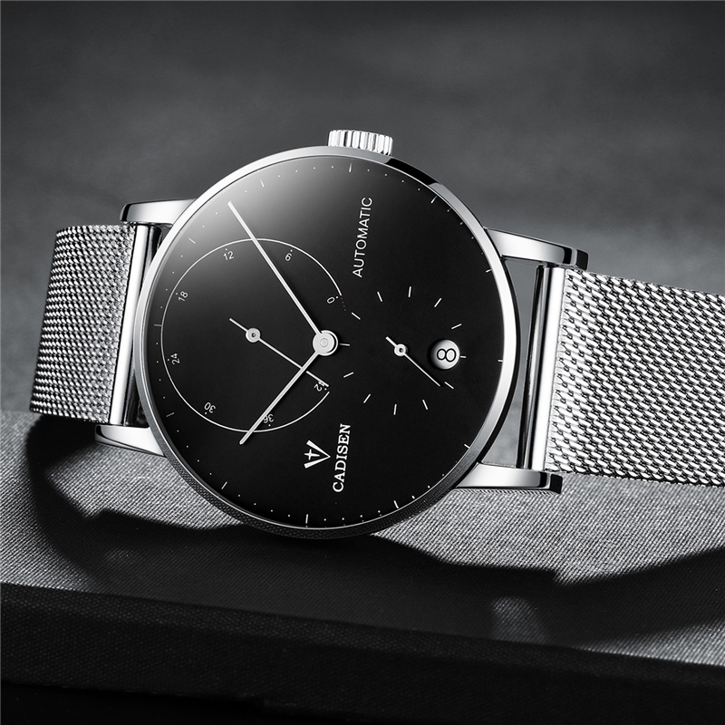 CADISEN Men Automatic Mechanical Watch Male Ultra Thin Dial Steel Band Waterproof Clock 2018 Brand Men Wristwatch dropshipping цены