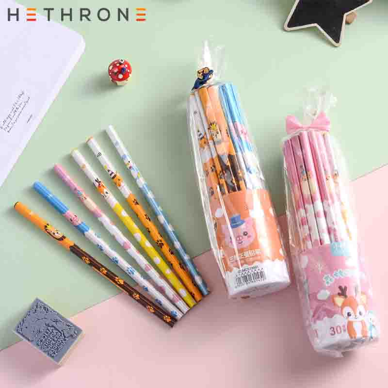 Hethrone 30pcs Animal wooden pencils for school Student writing drawing pencil set crayons sketch graphite lapices school items(China)