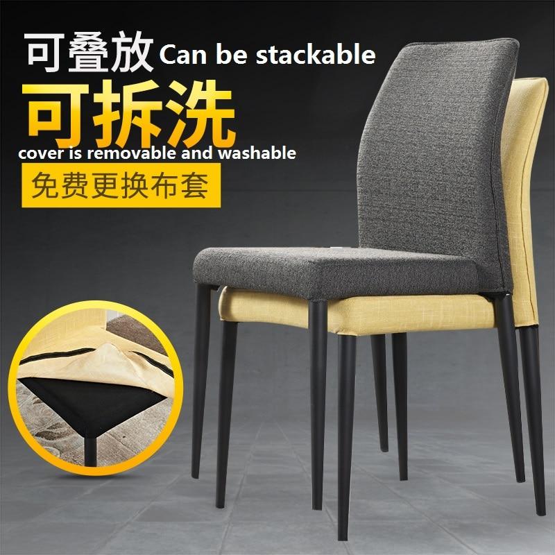 Nordic modo semplice e moderno tessuto sedia da pranzo ristorante dellhotel sedia sfoderabile impilabile sedia schienaleNordic modo semplice e moderno tessuto sedia da pranzo ristorante dellhotel sedia sfoderabile impilabile sedia schienale