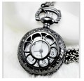 New  Arrive Small Size Black Sunflower Men Women Pocket Watch with chain For Xmas Gift PS445