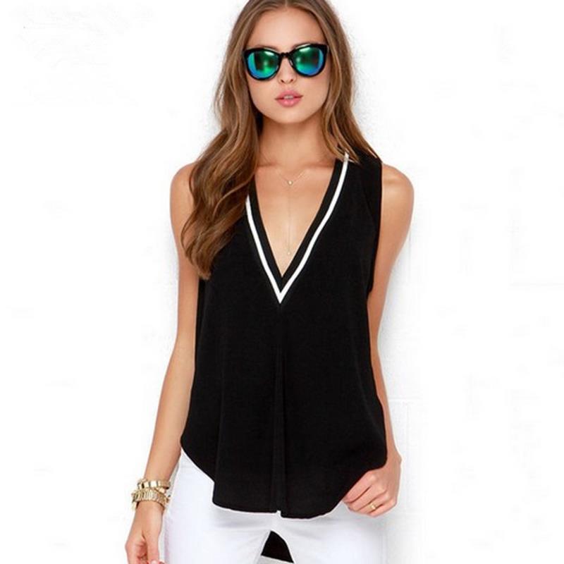New Fashion Casual Black And White Thread Deep V Collar Splicing Irregular Solid Color Sleeveless Chiffon