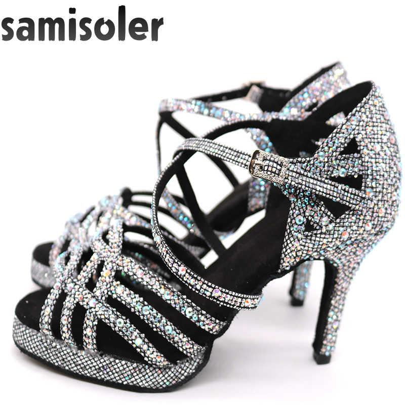 Latin Dance Schuhe mit Plattform Jazz Schuhe Dance Ballsaal Schuhe Mädchen Strass High Heels Glitter Salsa Tanzen Schuhe