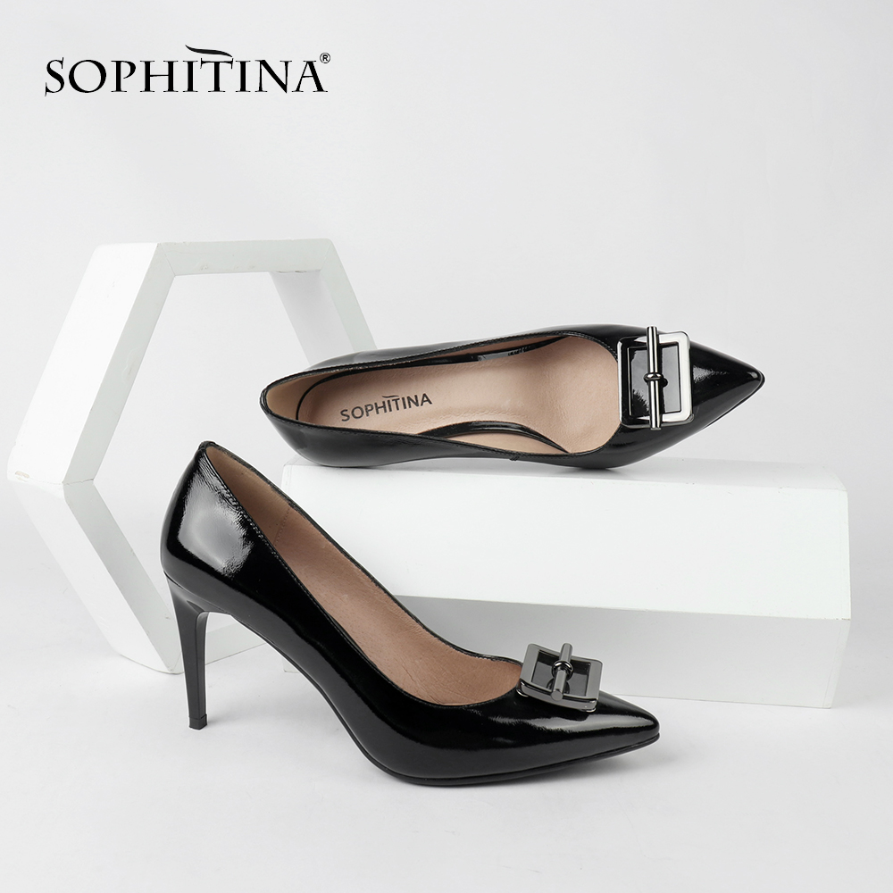 SOPHITINA Sexy Pointed Toe Pumps Fashion Thin Heel High Quality Genuine Leather Shallow Casual Shoes Special Women's Pumps SC150