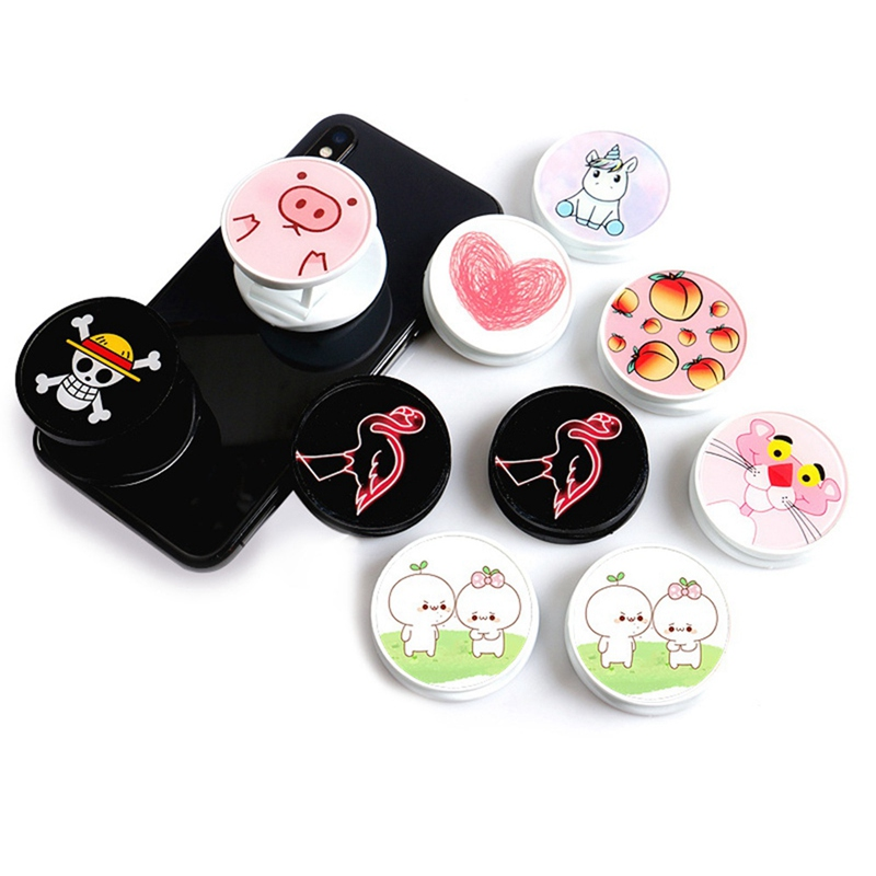 Cute Cartoon Round Universal Expanding Stand And Grip Finger Ring Holder Mobile Phone Folding Bracket For IPhone 8 7 X XR XS MAX
