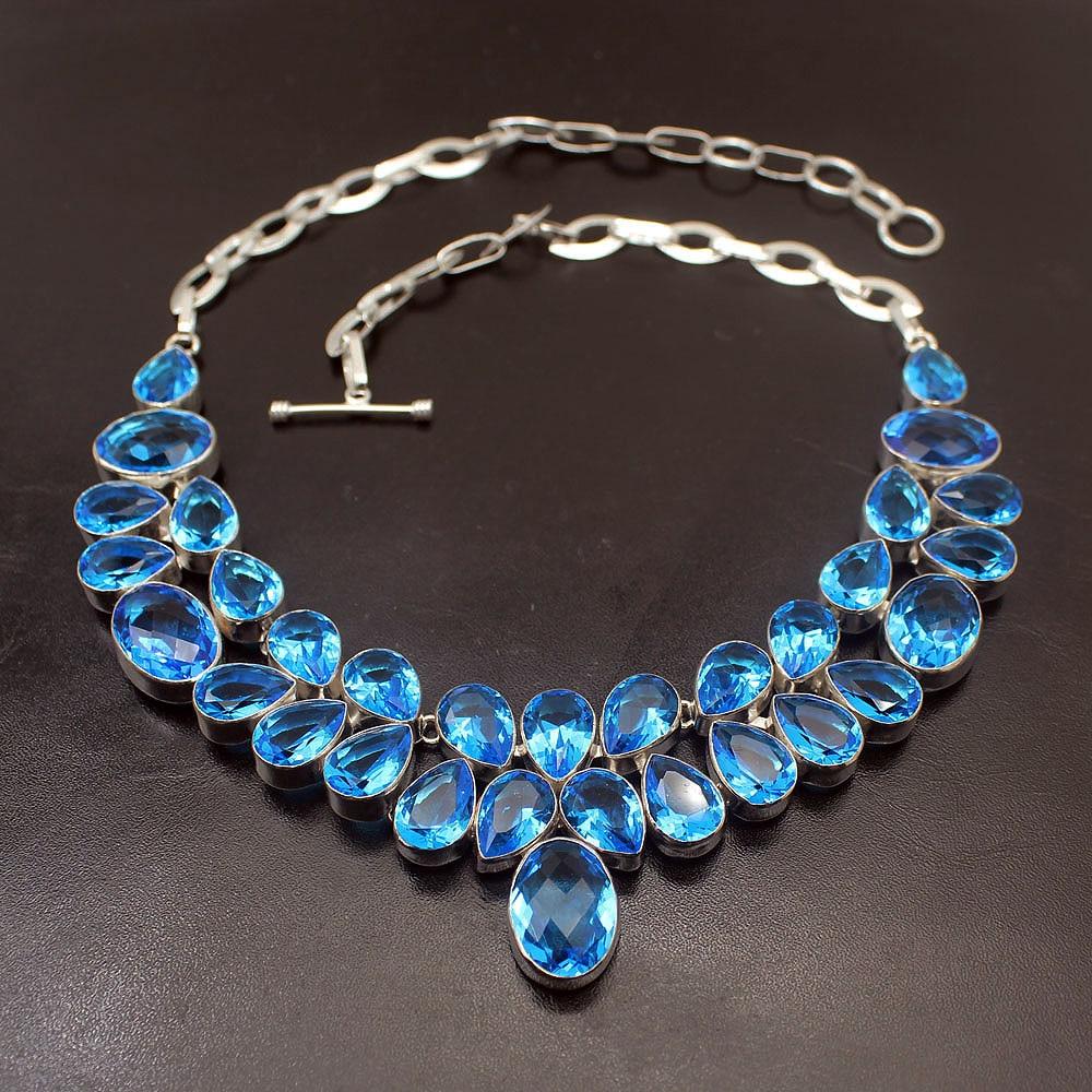 Лихо натуральный уникальный океан синий Topaz925 серебро ожерелье колье s 17 дюймов Бесплатная доставка