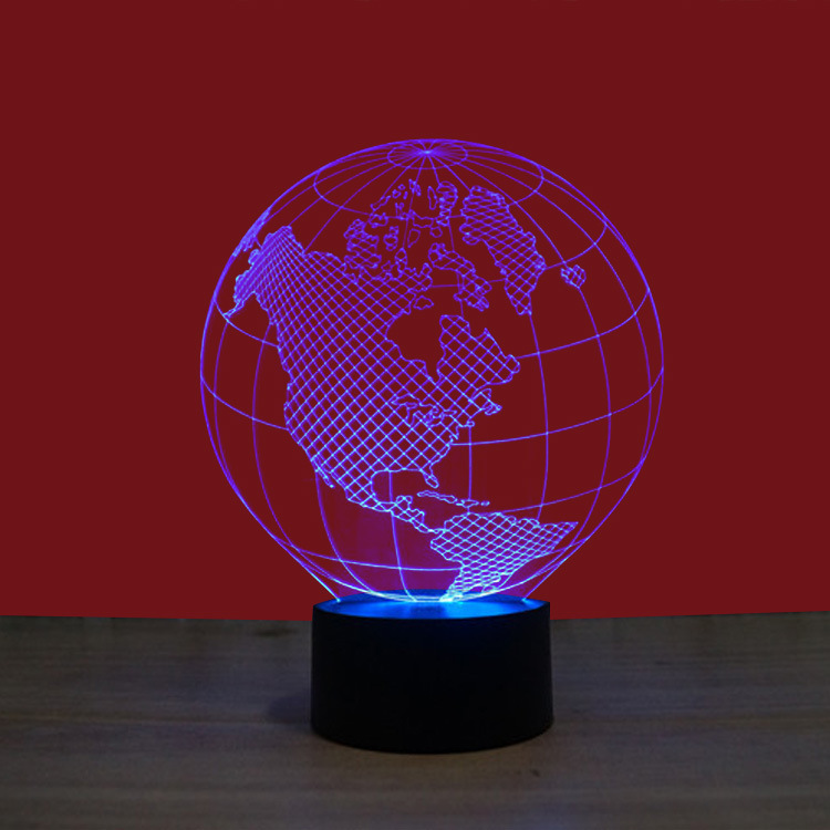 Earth Map Light 3D LED Lamp Featuring 3D Wire Frame Images Earth Globe Lamp Hand