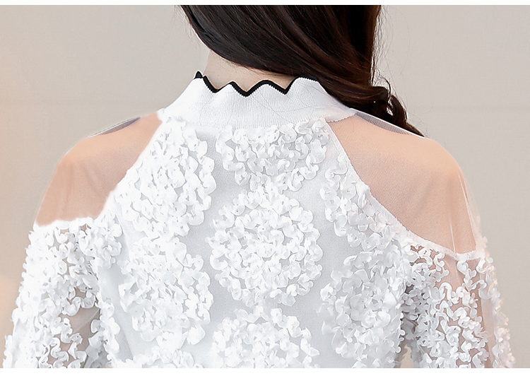 lace patchwork sexy style female shirts fashion women clothing lace blouses  5