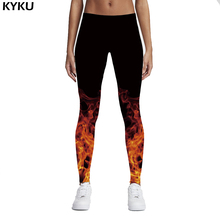 KYKU Brand Russian 3D Style Fire Flame Printing Leggings Punk Women Legging Stretchy Trousers Casual Pants Womens Black