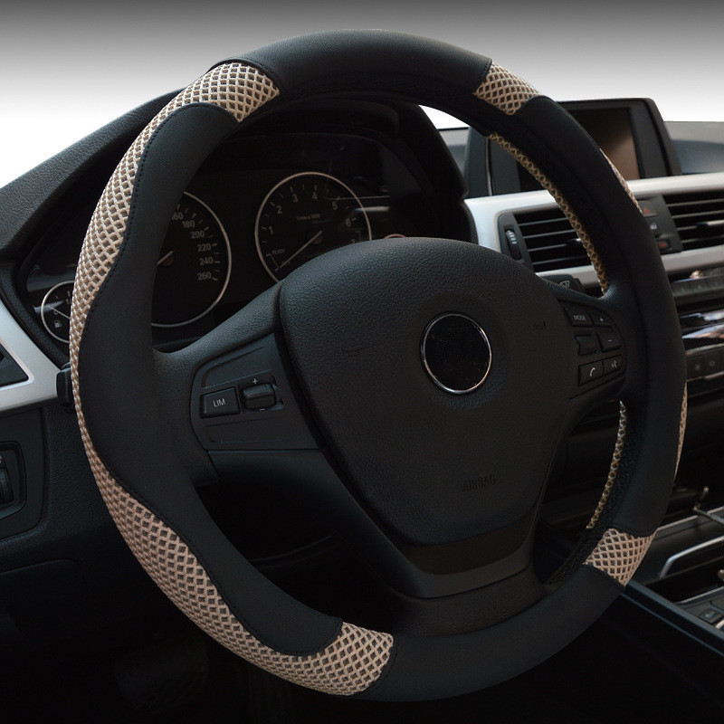 38cm Summer Ice Silk Leather Car Steering Wheel Cover for Ford New Mondeo Toyota Black White Red Brown Universal