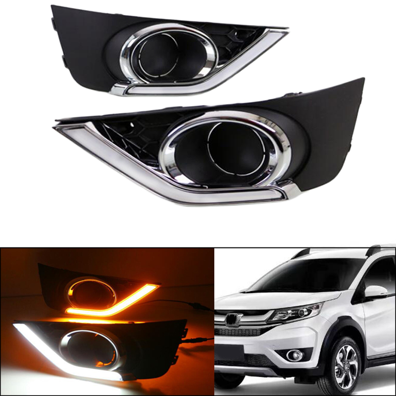 2PCS LED Daytime Running Light DRL Fog Lamp Turning Yellow Signal For Honda BR-V BRV 2016 2017 Car Accessories Waterproof 12V 12v led car drl turning signal
