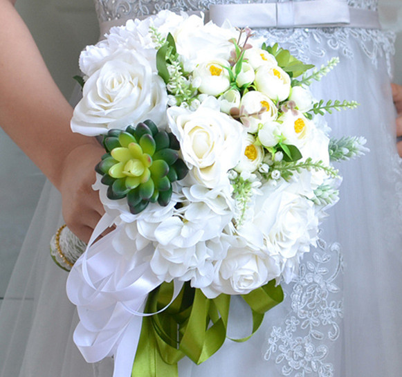 Artificial flowers white rose bouquet groom bride holding flower photography props wedding bridesmaid decoration accessories Artificial & Dried Flowers     - title=