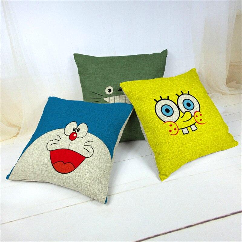 SpongeBob Cushion Cover Cartoon Decorative Throw Doraemon Pillow Case Covers Child Kids Gift Cases 18