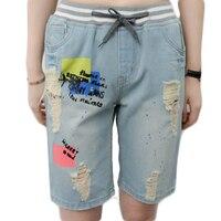 2017 Summer New Denim Short Jeans Women Plus Size 5XL Elastic Waist Drawstring Hole Printing Knee Length Casual Trousers W267